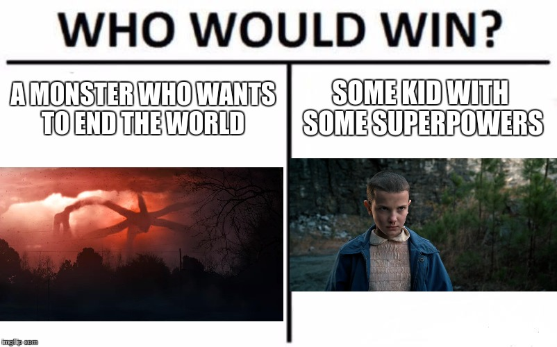 Who Would Win? Meme | A MONSTER WHO WANTS TO END THE WORLD SOME KID WITH SOME SUPERPOWERS | image tagged in memes,who would win | made w/ Imgflip meme maker