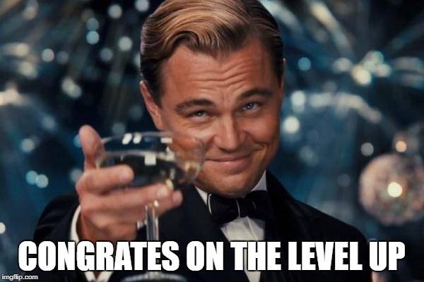 Leonardo Dicaprio Cheers Meme | CONGRATES ON THE LEVEL UP | image tagged in memes,leonardo dicaprio cheers | made w/ Imgflip meme maker