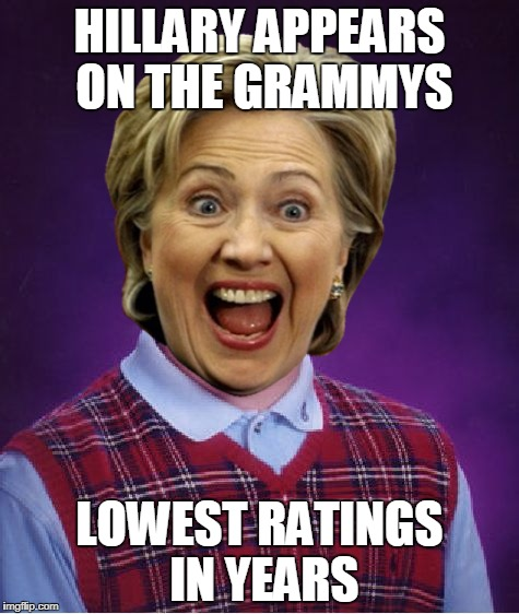 Bad Luck Grammys | HILLARY APPEARS ON THE GRAMMYS LOWEST RATINGS IN YEARS | image tagged in memes,hillary clinton,grammys,fail | made w/ Imgflip meme maker