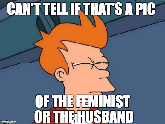 CAN'T TELL IF THAT'S A PIC OF THE FEMINIST OR THE HUSBAND | made w/ Imgflip meme maker