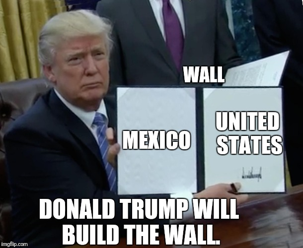 Trump Bill Signing Meme | MEXICO UNITED STATES WALL DONALD TRUMP WILL BUILD THE WALL. | image tagged in memes,trump bill signing,nsfw | made w/ Imgflip meme maker