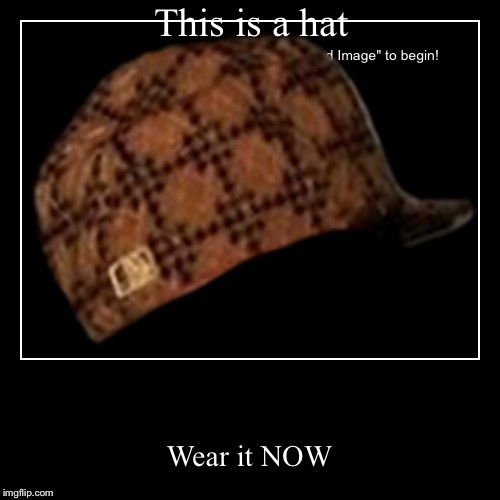 This is a hat | Wear it NOW | image tagged in funny,demotivationals | made w/ Imgflip demotivational maker