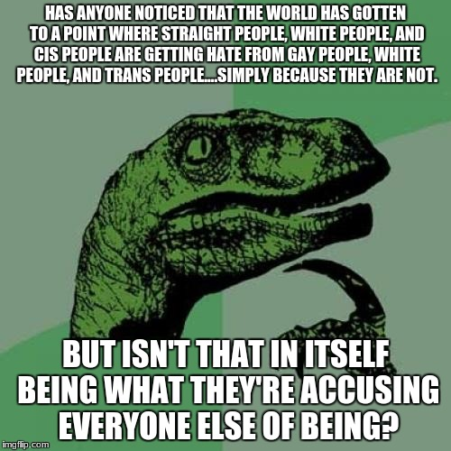 No offense to anyone, but as a straight white female (not trans), I've noticed this. | HAS ANYONE NOTICED THAT THE WORLD HAS GOTTEN TO A POINT WHERE STRAIGHT PEOPLE, WHITE PEOPLE, AND CIS PEOPLE ARE GETTING HATE FROM GAY PEOPLE | image tagged in memes,philosoraptor | made w/ Imgflip meme maker
