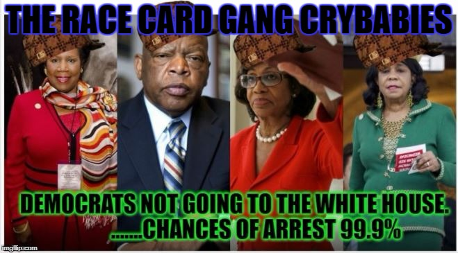 THE RACE CARD GANG CRYBABIES | image tagged in dems racecardgang democrats lowlifes scum scumbags anti-american | made w/ Imgflip meme maker