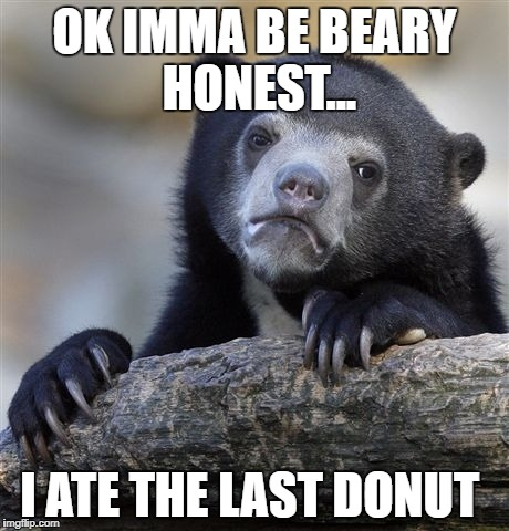 Confession Bear Meme | OK IMMA BE BEARY HONEST... I ATE THE LAST DONUT | image tagged in memes,confession bear | made w/ Imgflip meme maker