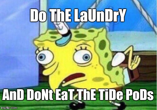 Mocking Spongebob Meme | Do ThE LaUnDrY AnD DoNt EaT ThE TiDe PoDs | image tagged in memes,mocking spongebob | made w/ Imgflip meme maker