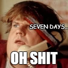 chris farley phone | SEVEN DAYS... OH SHIT | image tagged in chris farley phone | made w/ Imgflip meme maker
