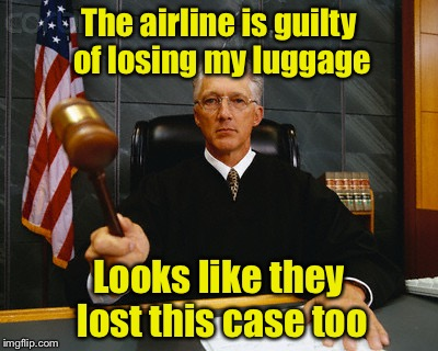 Bad Pun Judge | The airline is guilty of losing my luggage Looks like they lost this case too | image tagged in judge,memes,bad pun,luggage,lost,judgement | made w/ Imgflip meme maker