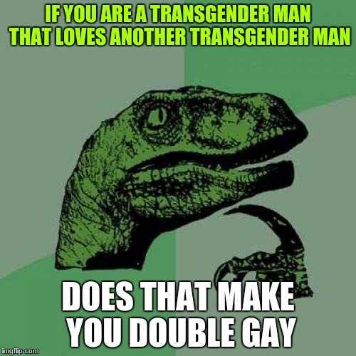 Philosoraptor Meme | IF YOU ARE A TRANSGENDER MAN THAT LOVES ANOTHER TRANSGENDER MAN DOES THAT MAKE YOU DOUBLE GAY | image tagged in memes,philosoraptor | made w/ Imgflip meme maker