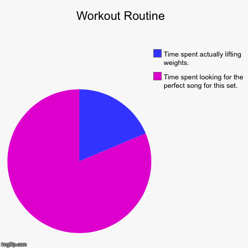 Pretty much every day at the gym. | Workout Routine  | Time spent looking for the perfect song for this set., Time spent actually lifting weights. | image tagged in funny,pie charts,workout,music | made w/ Imgflip pie chart maker