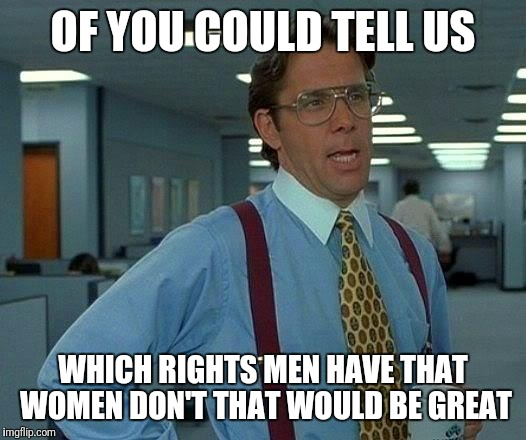 That Would Be Great Meme | OF YOU COULD TELL US WHICH RIGHTS MEN HAVE THAT WOMEN DON'T THAT WOULD BE GREAT | image tagged in memes,that would be great | made w/ Imgflip meme maker