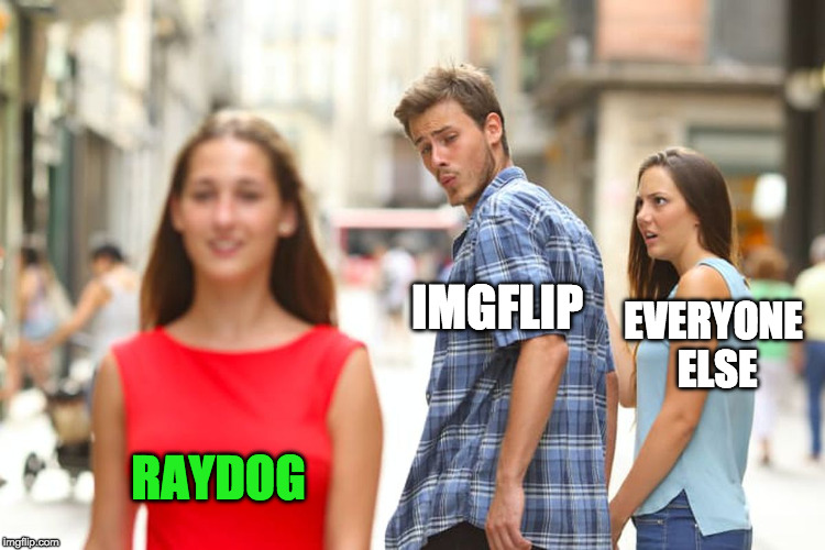 Distracted Boyfriend Meme | IMGFLIP RAYDOG EVERYONE ELSE | image tagged in memes,distracted boyfriend | made w/ Imgflip meme maker