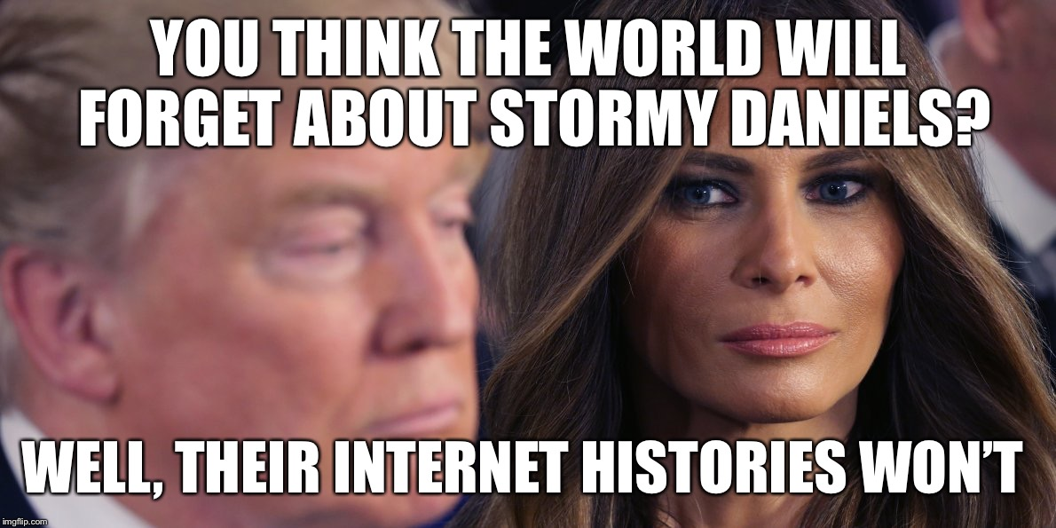 Forget about Stormy Daniels you say? | YOU THINK THE WORLD WILL FORGET ABOUT STORMY DANIELS? WELL, THEIR INTERNET HISTORIES WON'T | image tagged in stormy daniels what,trump,melania trump | made w/ Imgflip meme maker