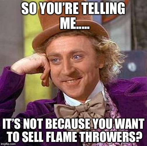 Creepy Condescending Wonka Meme | SO YOU'RE TELLING ME..... IT'S NOT BECAUSE YOU WANT TO SELL FLAME THROWERS? | image tagged in memes,creepy condescending wonka | made w/ Imgflip meme maker