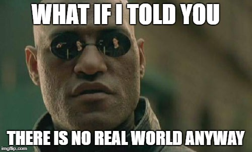 Matrix Morpheus Meme | WHAT IF I TOLD YOU THERE IS NO REAL WORLD ANYWAY | image tagged in memes,matrix morpheus | made w/ Imgflip meme maker