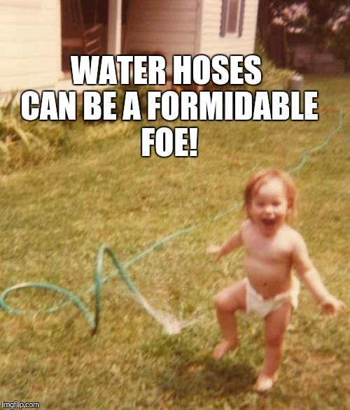 WATER HOSES CAN BE A FORMIDABLE FOE! | made w/ Imgflip meme maker