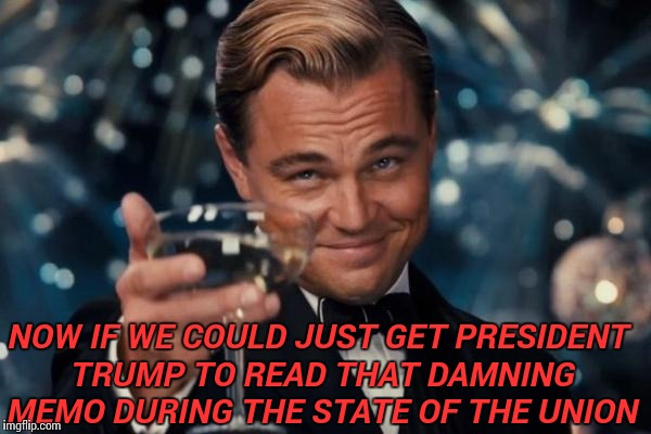 Leonardo Dicaprio Cheers Meme | NOW IF WE COULD JUST GET PRESIDENT TRUMP TO READ THAT DAMNING MEMO DURING THE STATE OF THE UNION | image tagged in memes,leonardo dicaprio cheers | made w/ Imgflip meme maker