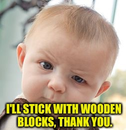 Skeptical Baby Meme | I'LL STICK WITH WOODEN BLOCKS, THANK YOU. | image tagged in memes,skeptical baby | made w/ Imgflip meme maker