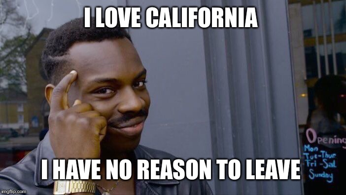 Roll Safe Think About It Meme | I LOVE CALIFORNIA I HAVE NO REASON TO LEAVE | image tagged in memes,roll safe think about it | made w/ Imgflip meme maker