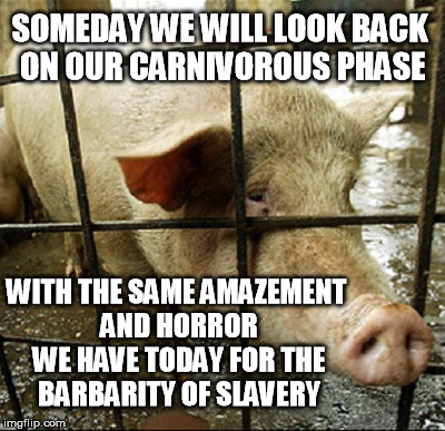 Stop making excuses; you're a moral being, and you know better | SOMEDAY WE WILL LOOK BACK ON OUR CARNIVOROUS PHASE WITH THE SAME AMAZEMENT AND HORROR WE HAVE TODAY FOR THE BARBARITY OF SLAVERY | image tagged in vegan,vegetarian,bacon,pig | made w/ Imgflip meme maker