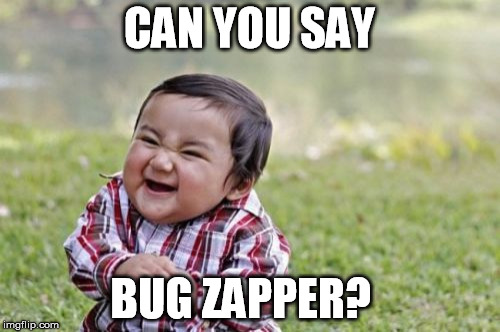 Evil Toddler Meme | CAN YOU SAY BUG ZAPPER? | image tagged in memes,evil toddler | made w/ Imgflip meme maker