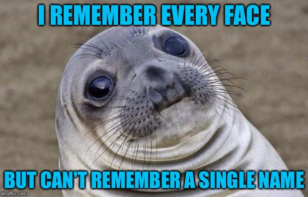 Awkward Moment Sealion Meme | I REMEMBER EVERY FACE BUT CAN'T REMEMBER A SINGLE NAME | image tagged in memes,awkward moment sealion | made w/ Imgflip meme maker