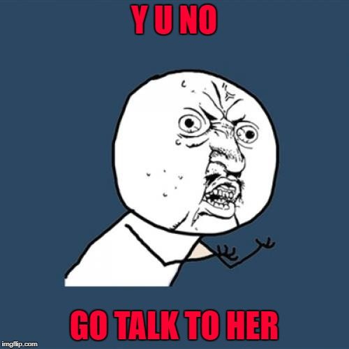 Y U No Meme | Y U NO GO TALK TO HER | image tagged in memes,y u no | made w/ Imgflip meme maker