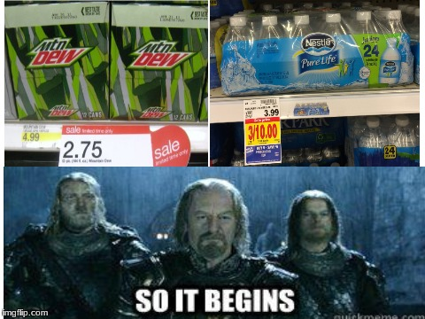 Mtn dew cheaper then water? | image tagged in blank white template,mtn dew,water,prices,memes,funny | made w/ Imgflip meme maker