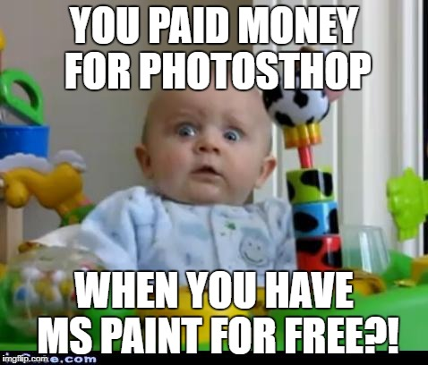 surprised baby | YOU PAID MONEY FOR PHOTOSTHOP WHEN YOU HAVE MS PAINT FOR FREE?! | image tagged in surprised baby | made w/ Imgflip meme maker