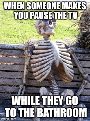 Waiting Skeleton Meme | WHEN SOMEONE MAKES YOU PAUSE THE TV WHILE THEY GO TO THE BATHROOM | image tagged in memes,waiting skeleton | made w/ Imgflip meme maker