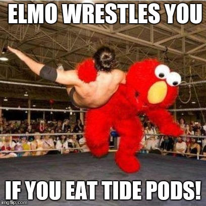 Elmo wrestling | ELMO WRESTLES YOU IF YOU EAT TIDE PODS! | image tagged in elmo wrestling | made w/ Imgflip meme maker