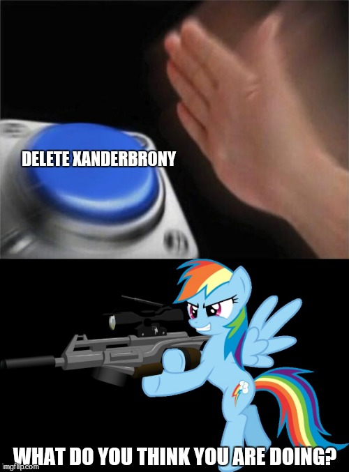 I would never think of doing this! | DELETE XANDERBRONY WHAT DO YOU THINK YOU ARE DOING? | image tagged in memes,blank nut button,gunning rainbow dash,delete yourself,deleted accounts | made w/ Imgflip meme maker