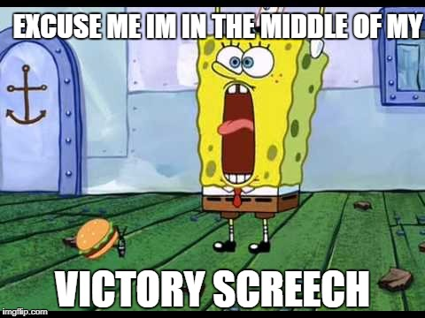 EXCUSE ME IM IN THE MIDDLE OF MY VICTORY SCREECH | image tagged in victory,screech | made w/ Imgflip meme maker