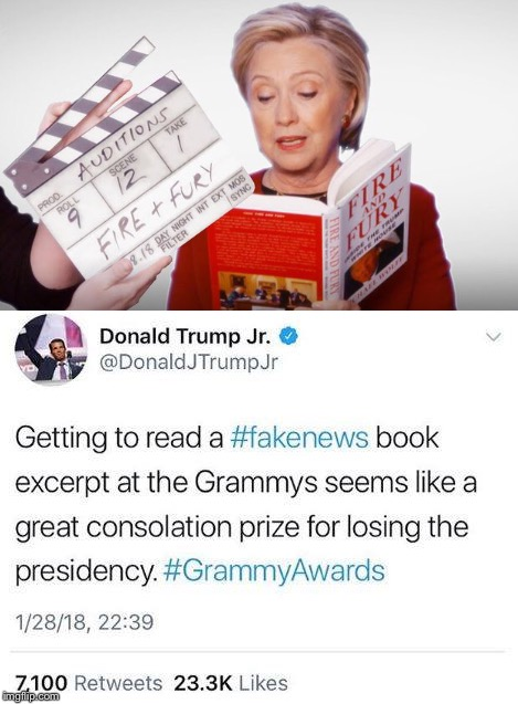 Kind of like a Participation Trophy  |  . | image tagged in hillary,trump,fire and fury,grammys | made w/ Imgflip meme maker