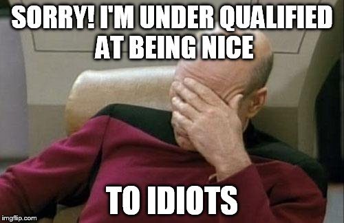 Under Qualified for Idiots | SORRY! I'M UNDER QUALIFIED AT BEING NICE TO IDIOTS | image tagged in memes,captain picard facepalm | made w/ Imgflip meme maker