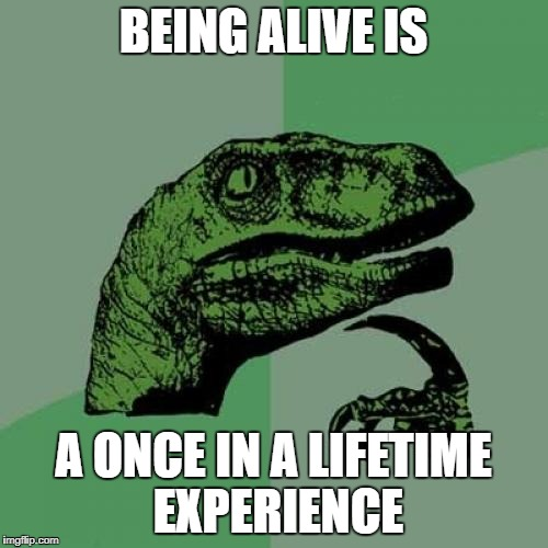 Philosoraptor Meme | BEING ALIVE IS A ONCE IN A LIFETIME EXPERIENCE | image tagged in memes,philosoraptor | made w/ Imgflip meme maker