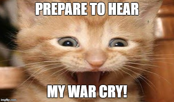 PREPARE TO HEAR MY WAR CRY! | image tagged in kitten,cat memes,mew | made w/ Imgflip meme maker