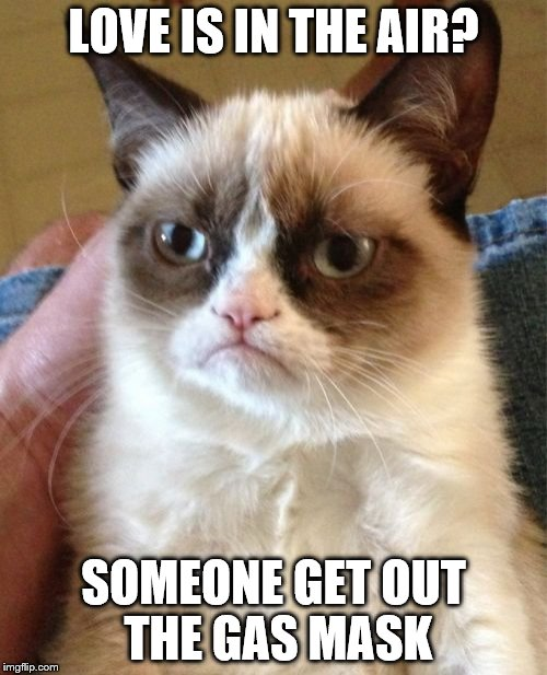 Grumpy Cat Meme | LOVE IS IN THE AIR? SOMEONE GET OUT THE GAS MASK | image tagged in memes,grumpy cat | made w/ Imgflip meme maker
