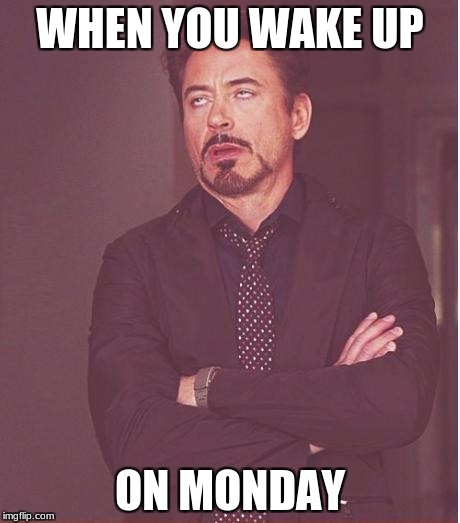 Face You Make Robert Downey Jr Meme | WHEN YOU WAKE UP ON MONDAY | image tagged in memes,face you make robert downey jr | made w/ Imgflip meme maker