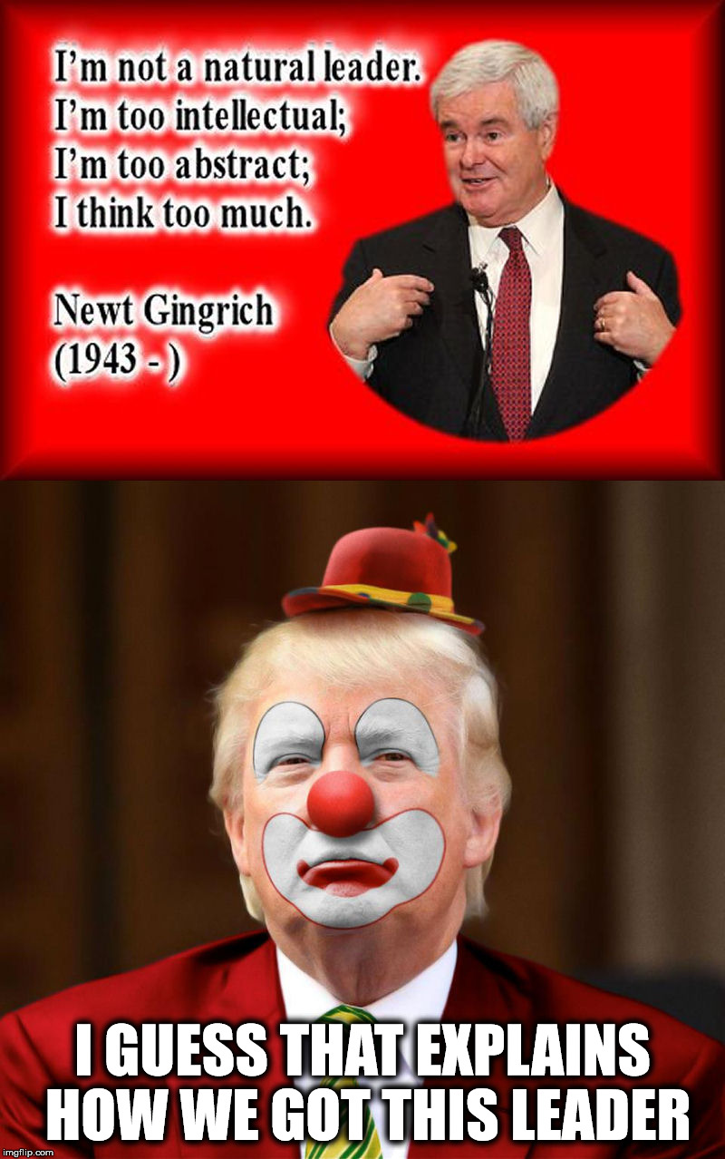 Case closed | I GUESS THAT EXPLAINS HOW WE GOT THIS LEADER | image tagged in newt gingrich,quote,donald trump | made w/ Imgflip meme maker