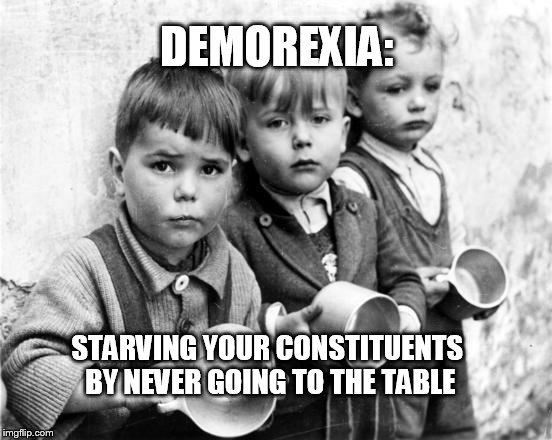 Devoted to Party, not people | DEMOREXIA: STARVING YOUR CONSTITUENTS BY NEVER GOING TO THE TABLE | image tagged in boycott,government shutdown,compromise | made w/ Imgflip meme maker