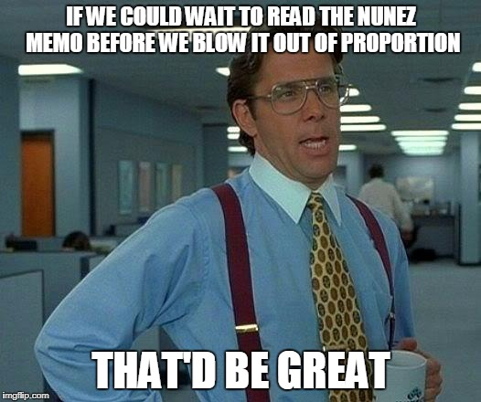 That Would Be Great Meme | IF WE COULD WAIT TO READ THE NUNEZ MEMO BEFORE WE BLOW IT OUT OF PROPORTION THAT'D BE GREAT | image tagged in memes,that would be great | made w/ Imgflip meme maker