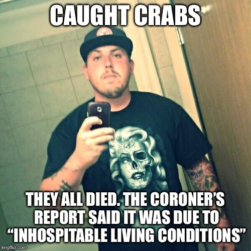 "When the D is just too musky |  CAUGHT CRABS; THEY ALL DIED. THE CORONER'S REPORT SAID IT WAS DUE TO ""INHOSPITABLE LIVING CONDITIONS"" 