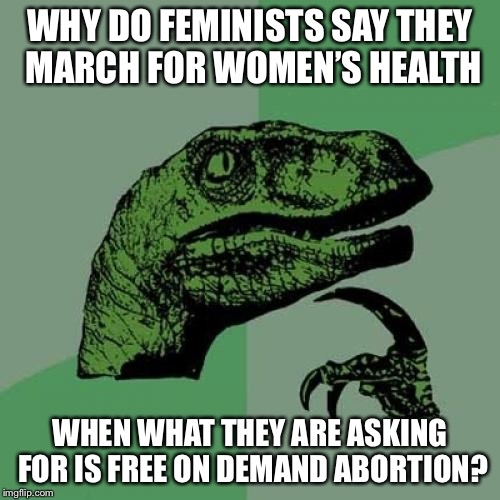 Philosoraptor Meme | WHY DO FEMINISTS SAY THEY MARCH FOR WOMEN'S HEALTH WHEN WHAT THEY ARE ASKING FOR IS FREE ON DEMAND ABORTION? | image tagged in memes,philosoraptor | made w/ Imgflip meme maker