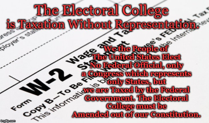 The Electoral College We the People of The United States Elect No Federal Official, only a Congress which represents only States, but we are | image tagged in irs w2 tax form | made w/ Imgflip meme maker