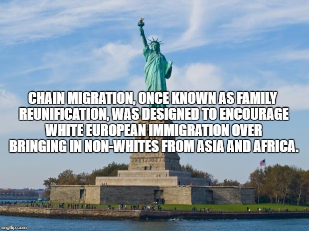 CHAIN MIGRATION, ONCE KNOWN AS FAMILY REUNIFICATION, WAS DESIGNED TO ENCOURAGE WHITE EUROPEAN IMMIGRATION OVER BRINGING IN NON-WHITES FROM A | image tagged in statue of liberty | made w/ Imgflip meme maker