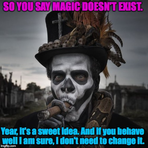 SO YOU SAY MAGIC DOESN'T EXIST. Year, it's a sweet idea. And if you behave well I am sure, I don't need to change it. | image tagged in voodoo | made w/ Imgflip meme maker
