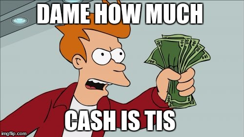 Shut Up And Take My Money Fry Meme | DAME HOW MUCH CASH IS TIS | image tagged in memes,shut up and take my money fry | made w/ Imgflip meme maker