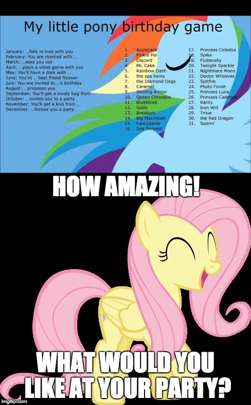 My birthday scenario | HOW AMAZING! WHAT WOULD YOU LIKE AT YOUR PARTY? | image tagged in memes,birthday,fluttershy,xanderbrony | made w/ Imgflip meme maker