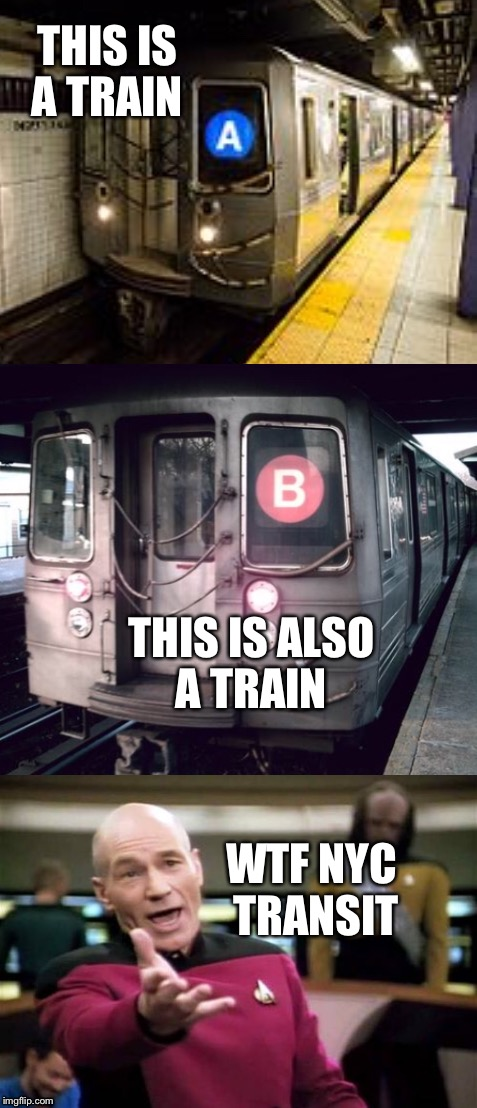 A train or a train | THIS IS A TRAIN THIS IS ALSO A TRAIN WTF NYC TRANSIT | image tagged in trains,picard wtf,a train | made w/ Imgflip meme maker